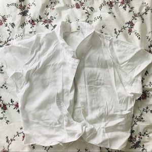 Aritzia Wilfred White Tie Front Blouse